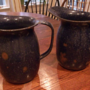 Worldwar II Blue Graniteware Pitchers