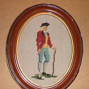 Needlepoint Soldier in Oval Frame