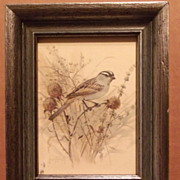 Bird Lithograph in Mini Frame