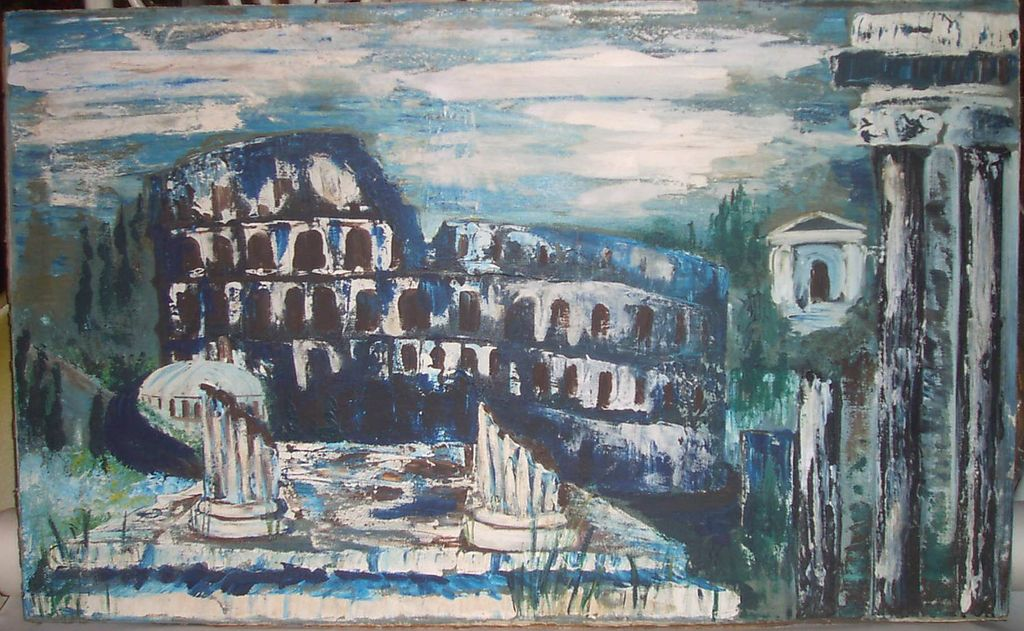 Oil Painting Old World Roman Ruins