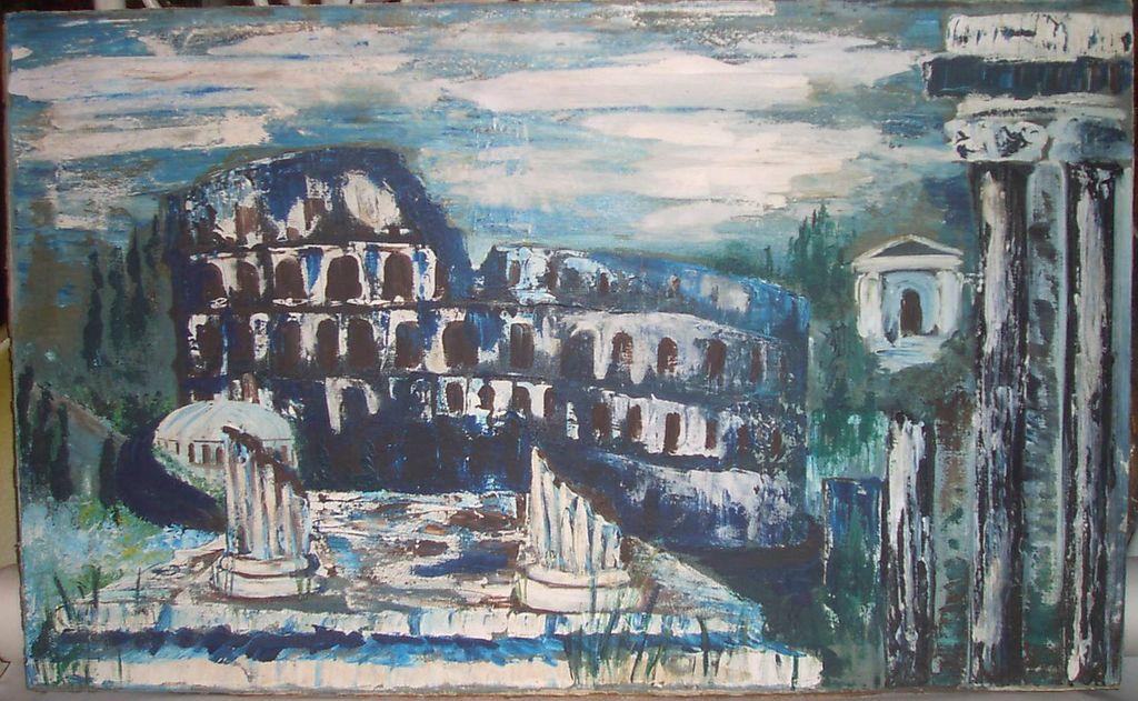Oil Painting Old World Roman Ruins