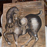 Horse-Original Oil Painting on Beige Linen