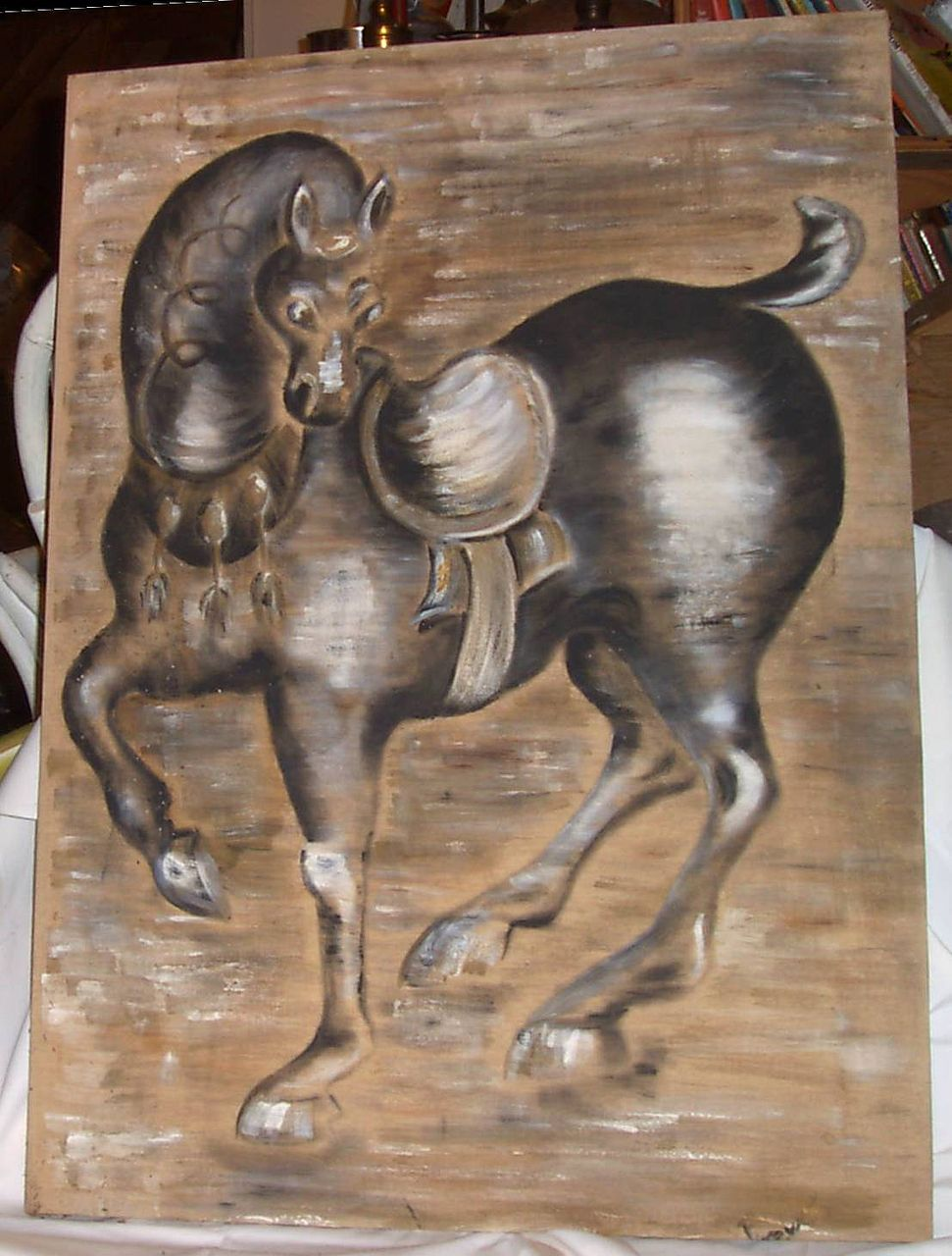 Original Oil Painting Horse on Beige Linen