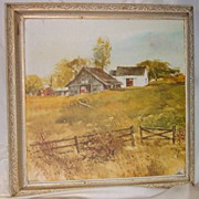 Barn Lithograph in Shadow Box Frame