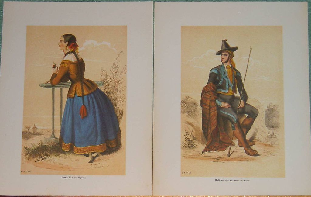 Spanish Traditional Costume Engraving Lithographs