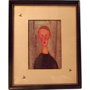 Girl with Blue Eyes Lithograph by Amedeo Modigliani