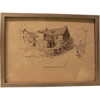 An Early New York House Pen and Ink Art