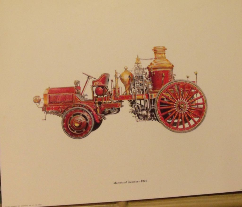 Firetruck Lithographs (6), Motorized Steamer, Hand-drawn Pumper, Hose Car,