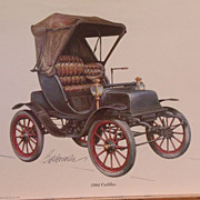 Automobile Lithographs (3)-Biederman Vintage Cars-Itala-1904 Cadillac