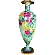 Stunning Limoges Roses Vase