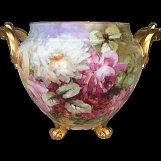 Magnificent Limoges Roses Jardiniere  20% sale 3 Nov  31 Dec 2016