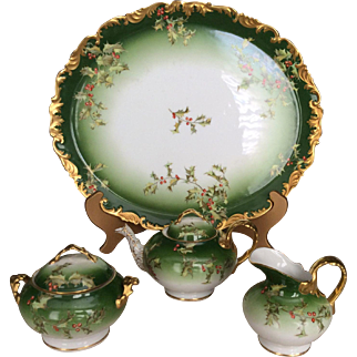 Spectacular, One-Of-A-Kind, T & V Limoges Holly and Berry Tea Set.