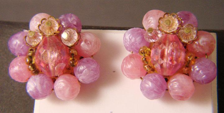 West German Pink and Lavender Bead Cluster Earrings