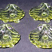Set of 4 Cambridge Caprice Yellow Nut Dishes or Ash Trays