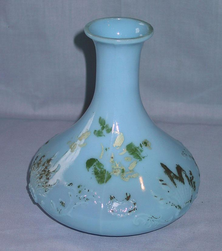 Blue Milk Glass Barber Bottle or Decanter