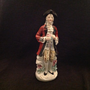 Colonial gentleman glazed bisque figurine Japan