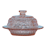 Pink Holiday or Buttons and Bows Covered Butter Dish