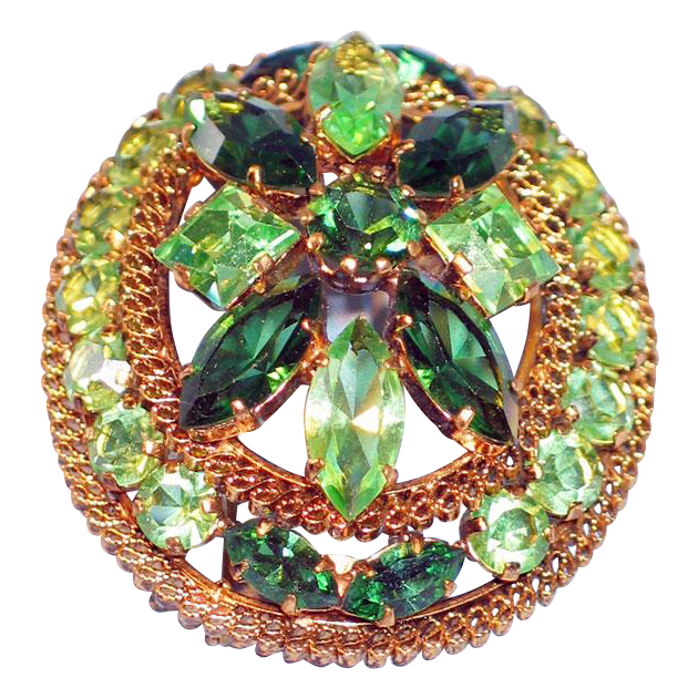 Large Green Rhinestone Brooch Made in Austria