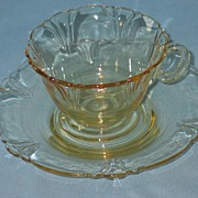 Heisey Empress Sahara Yellow Cup and Saucer