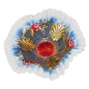 Blossoms and Palms Opalescent Bowl with Goofus Treatment