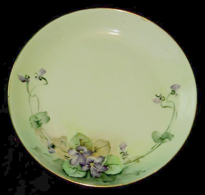 hutschenreuther selb bavaria hand painted plate with violets from carolynstt on ruby lane. Black Bedroom Furniture Sets. Home Design Ideas