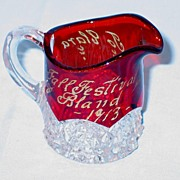 Button Arches Ruby Stained and Personalized Souvenir Individual Creamer dated 1913