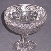 Early American Pattern Glass Horsemint Open Compote
