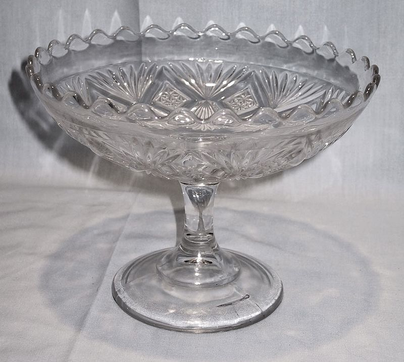 Early American Pattern Glass Sheaf and Diamond Compote