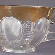 Iowa or Panelled Zipper EAPG Punch Cup with Gold Flashing