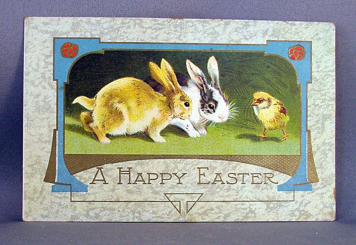 Happy Easter with Bunnies and a Chick