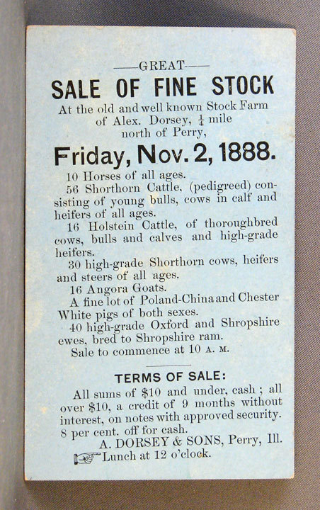 Notice of Livestock Sale Alex Dorsey & Sons, 1888