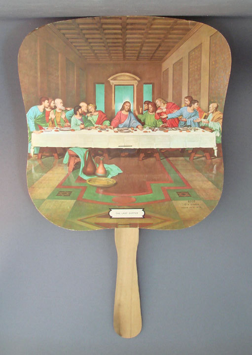 Advertising hand held stick fan The Last Supper