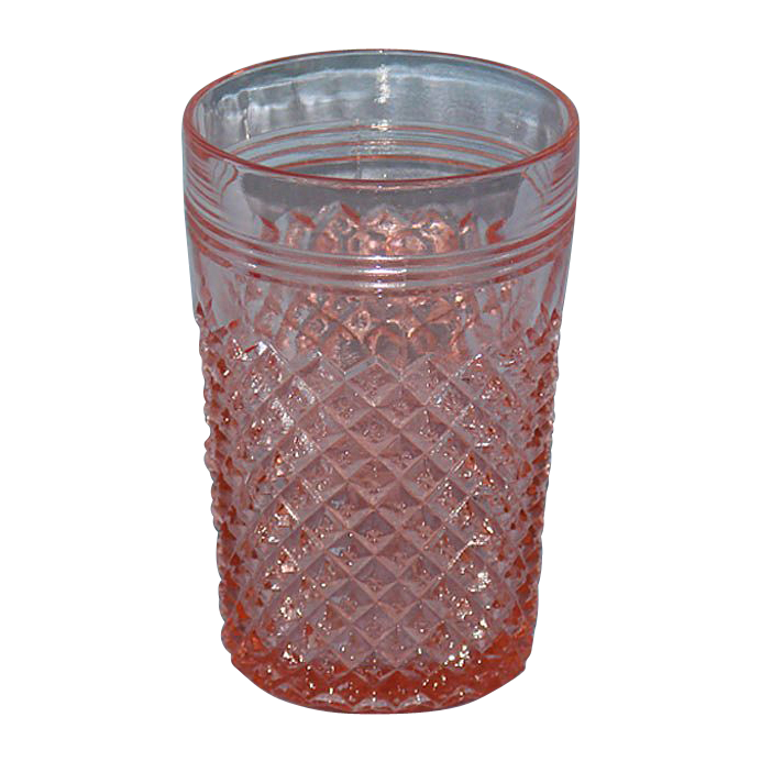 Pink Miss America Depression Glass Tumbler 10 oz. Flat Base