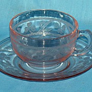 Pink Cloverleaf cup and saucer
