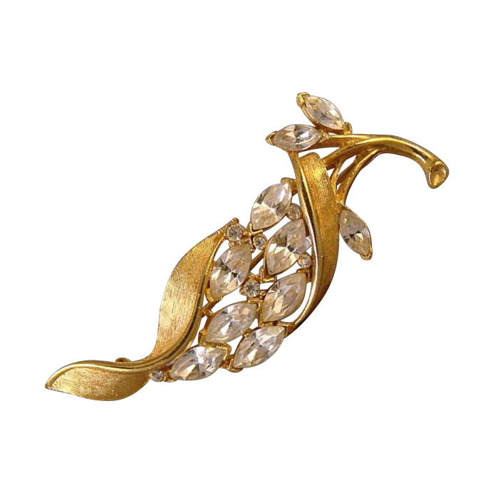 Sparkling rhinestone and gold tone metal pin