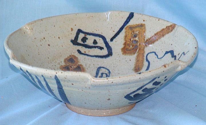 Contemporary stoneware art pottery bowl artist signed