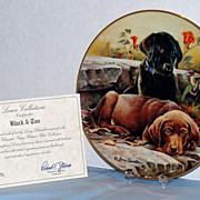 """Black and Tan"" Larry Chandler Puppy Portrait Plate by Lenox  Labrador Retrievers"