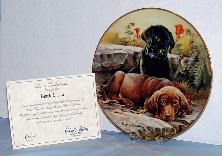 """Black and Tan"" Larry Chandler Puppy Portrait Plate by Lenox  Labrador Retrievers"