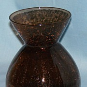 Brown crackle glass vase