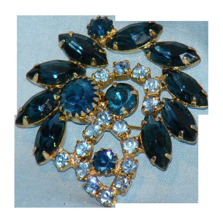 Fantastic blue rhinestone brooch