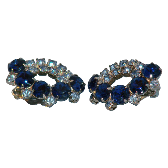 Sparkling blue rhinestone clip earrings
