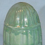 Green luster porcelain bird cage seed cup marked Japan