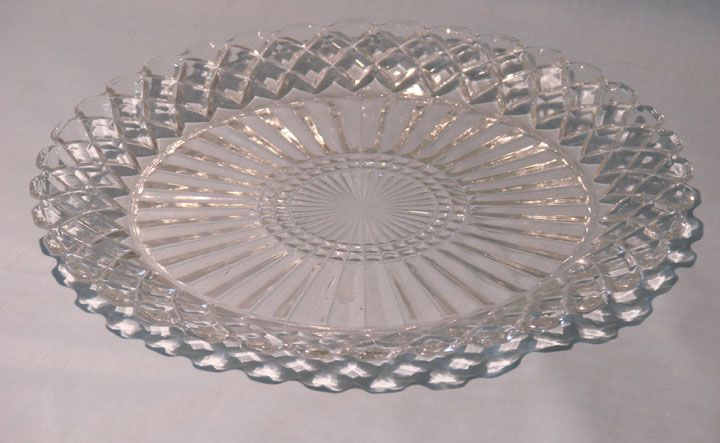 Hocking Glass Co Waterford or Waffle Crystal Dinner Plate