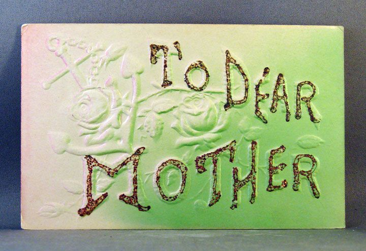 Embossed, air brushed, and glitter embellished postcard To Dear Mother