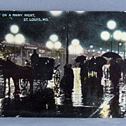 "1911 St. Louis Missouri postcard ""Rainy Night on Broadway"""