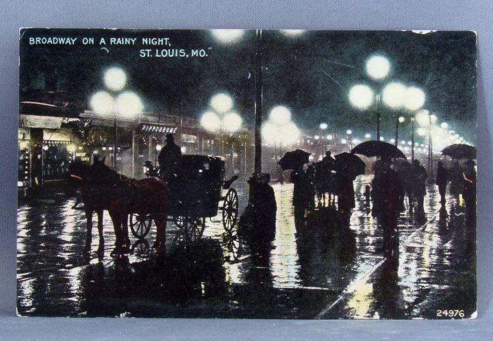 "1911 St. Louis Missouri postcard ""Rainy Night on Broadway"""