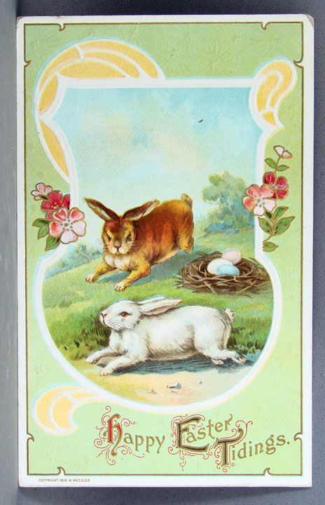 1911 Happy Easter Tidings with brown and white bunnies