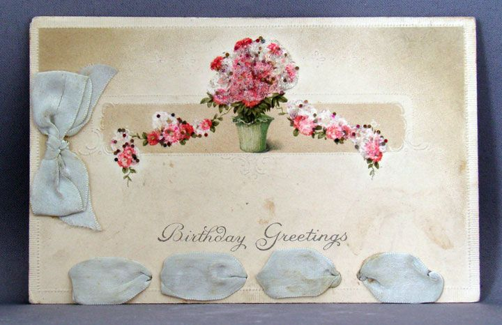 Birthday Greetings postcard with ribbon and coralene bead add-ons
