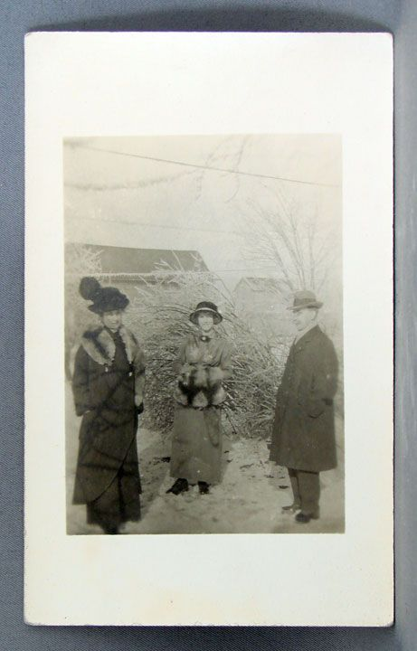 Real Photo Postcard two women in furs and hats