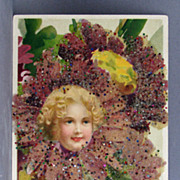 Post card Best Wishes with fairy and coralene bead add-on